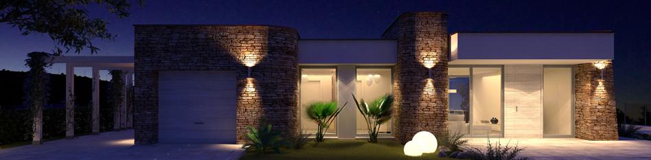 Villa moderna di design con piscina e taverna for A forma di casa con piano piano unico