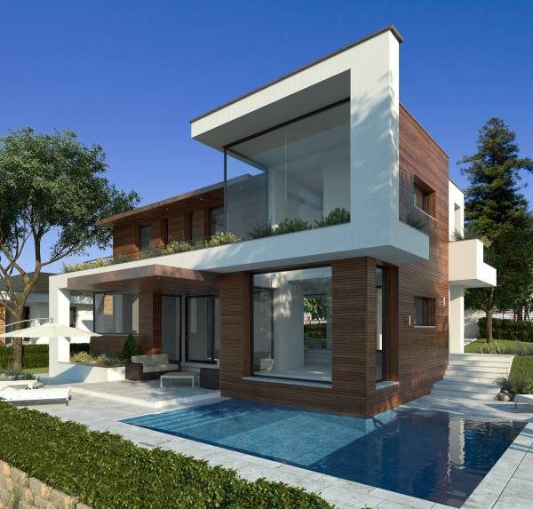 Villa moderna di design con piscina e taverna for Case contemporanee progetti