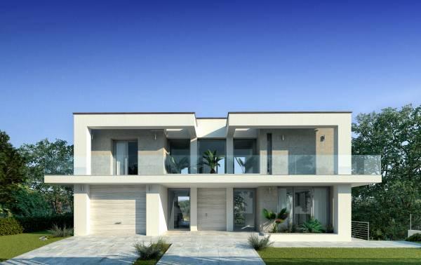 Villa moderna con piscina for Casa moderna pianta