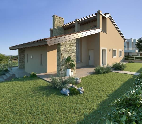 Villa con appartamento in mansarda piscina e taverna for Fattoria moderna a 2 piani