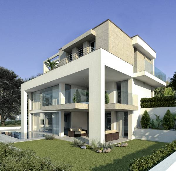 Villa moderna con piscina for Casa moderna immagini