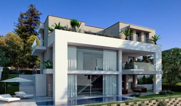 Villa moderna con piscina for Piccoli piani casa moderna casetta