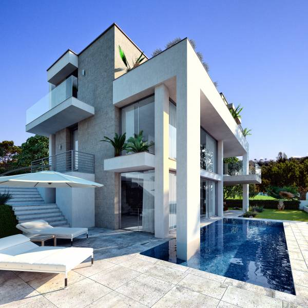 Villa moderna con piscina for Progetto casa moderna
